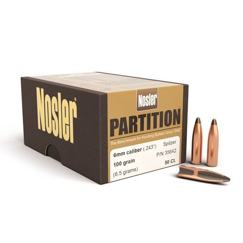 Nosler 6mm (.263) 70gr Partition Bullets