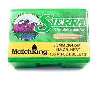 Sierra 6.5mm (.264) 142gr HPBT bullets